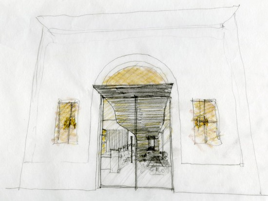 The architects started by sketching their concept for the canopy by hand. (courtesy Aidlin Darling Design)