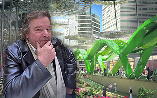 Will Alsop in front of his design for Reem Island in Dubai. (Courtesy ALL Design / Montage by AN)