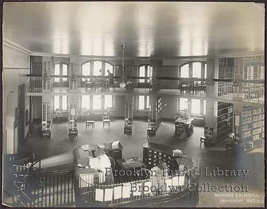 Historic view of the Pacific Library's interior. (Courtesy Brooklyn Public Library)