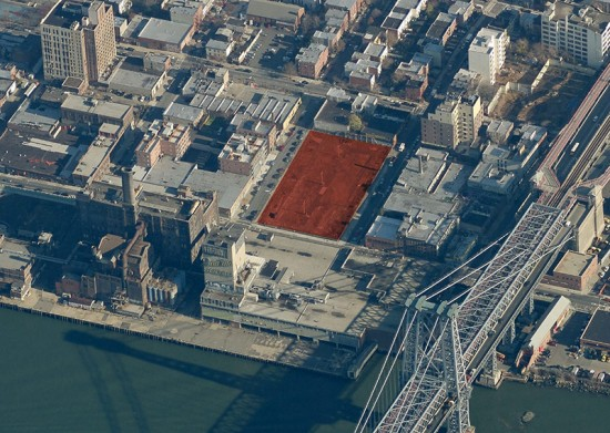 Domino Sugar Factory Site E marked in red. (Courtesy Bing Maps)