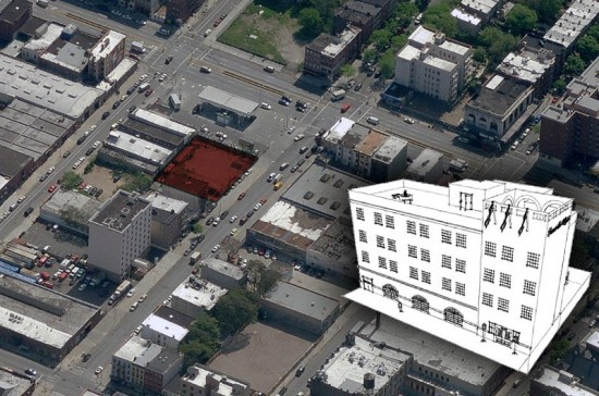 Gowanus Inn & Yard, rendering and site. (Courtesy Matt Abramcyk via Capital NY / Courtesy Bing Maps)