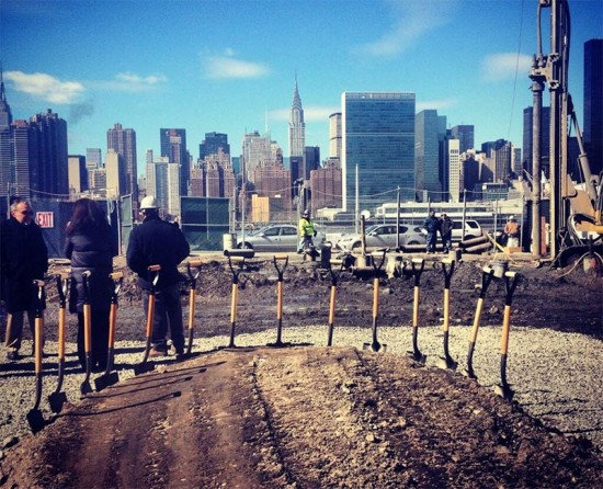 The scene at today's Hunters Point South groundbreaking ceremony. (Courtesy NYC Mayor's Office)