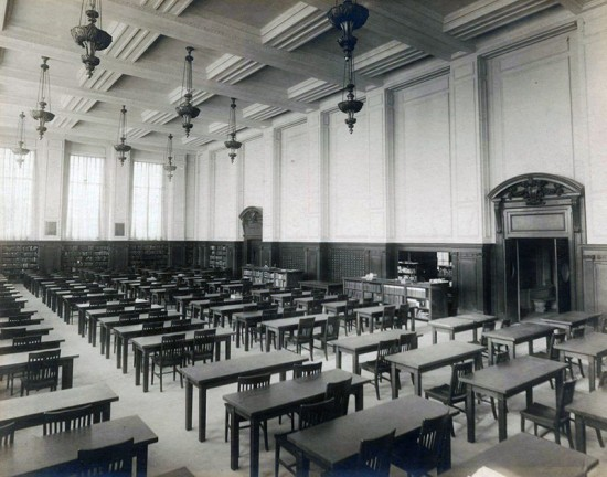 Historic view of the reading room at the John Hay Library. (Courtesy Brown University Library)