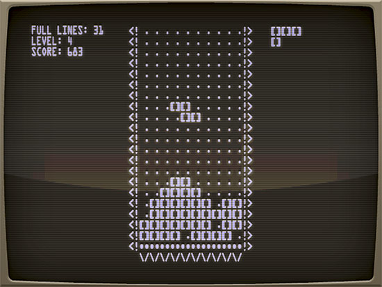 Screen view of the Tetris video game, 1984. (Courtesy The Tetris Company)