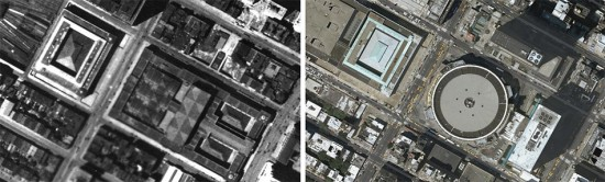 Aerial view of the old Penn Station, left, and Madison Square Garden, right. (Hyperakt / Flickr)