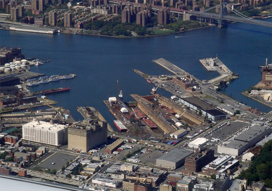 Brooklyn Navy Yard, Building 77 at lower, left corner. (Ed Costello / Flickr)