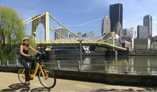 Mockup of a bikeshare system in Pittsburgh. (Courtesy City of Pittsburgh)