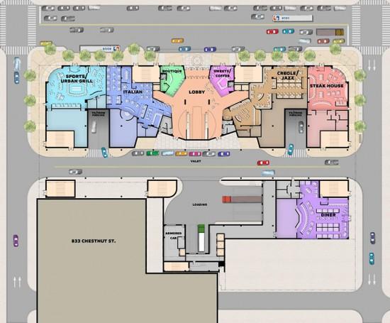 Ground floor plan of the proposed Market 8 casino.