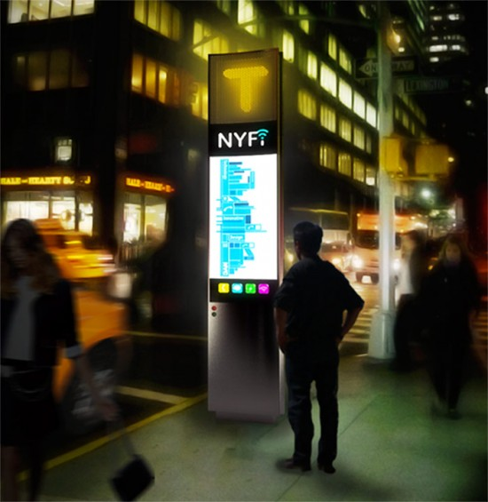The NYfi telephone booth by Sage & Coombe Architects. (Courtesy NYC Mayors Office)