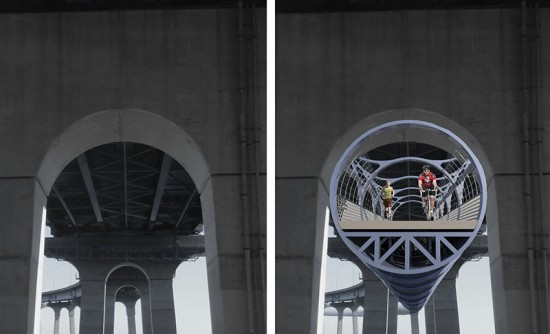 The new pedestrian and bike tube fits inside the arch of the bridge's supports. (Courtesy Domus Studio)