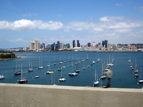 The San Diego skyline from the Coronado Bay Bridge. (zemistor / Flickr)