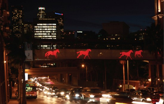 """Sign of the Horse"" installation on the Orsini Bridge, Los Angeles, CA. Vourvoulis developed the project with Merge Conceptual Design."