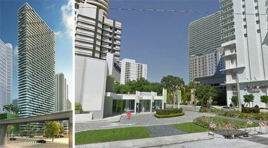 Arquitectonica's SLS Tower, left, and tower site, right. (Courtesy Arquitectonica / Related; Google Maps via Curbed)