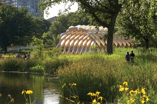 Studio Gang's Nature Boardwalk at Chicago's Lincoln Park Zoo. (Steve Hall / Hedrich Blessing)