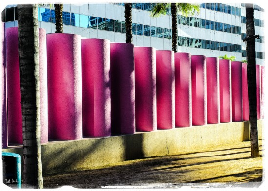 Pink columns stand along one edge of the park. (Swanksalot / Flickr)