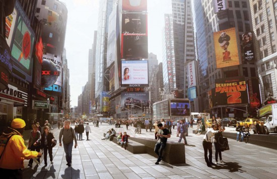 Rendering of a redesigned Times Square. (Courtesy MIR)