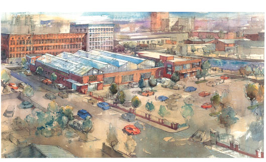 Rendering of greenhouses atop Whole Foods' new Gowanus Store. (Courtesy Whole Foods)