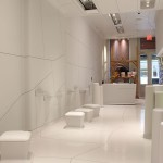 A clean canvas highlights Melissa's footwear and rotating art exhibits. (Melissa Hom)
