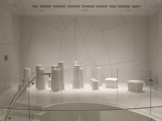 Associated Fabrication produced 34 bollard-shaped merchandise displays for Melissa Shoes in SoHo. (Melissa Hom)