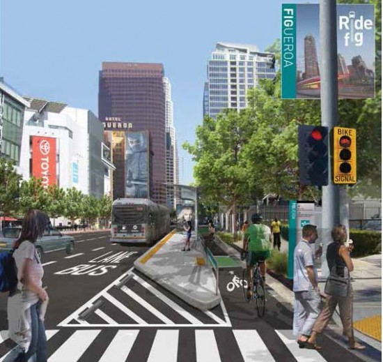 Proposed elements include separated bike lanes, improved crosswalks, new lighting, and enhanced plantings. (Courtesy MyFigueroa)
