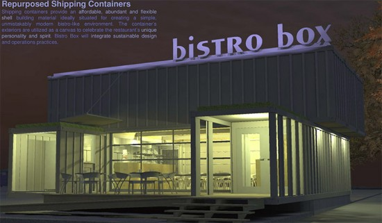 A restaurant made from shipping containers was among the winners.