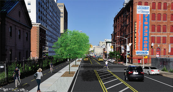 Rendering of the greenway through Brooklyn. (Courtesy NYCDOT)