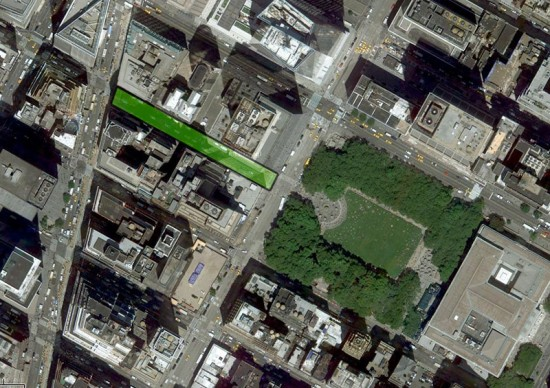 Boulevard 41 would connect Bryant Park with pedestrian plazas on Broadway. (Courtesy Google Maps)