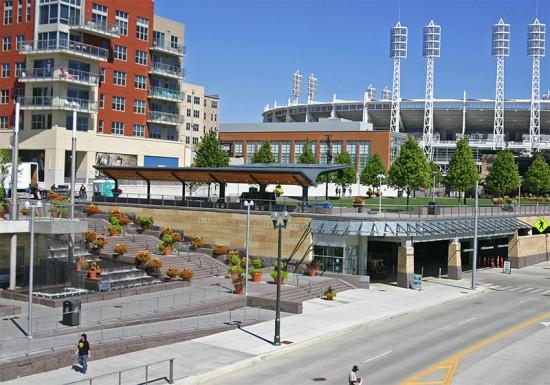 The bike hub in Cincinnati's Smale Waterfront Park. (Randy Simes / Urban Cincy)