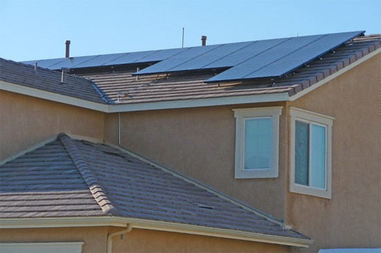 Solar panels on a house in Lancaster, California. (Thomas Hart / Flickr)