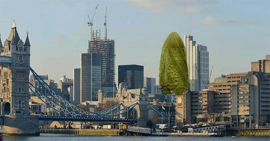 Rendering of the Swiss Re tower as a Gherkin. (Courtesy JackpotJoy)