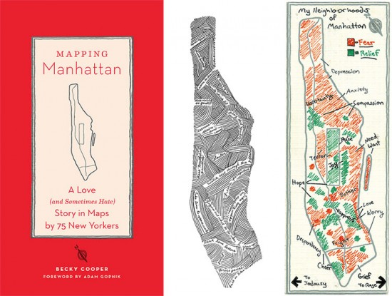 Cover of Mapping Manhattan and two example maps. (Courtesy Becky Cooper)