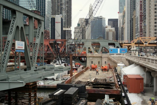 Construction on Chicago's Wells Street Bridge in March. (Courtesy CTA)
