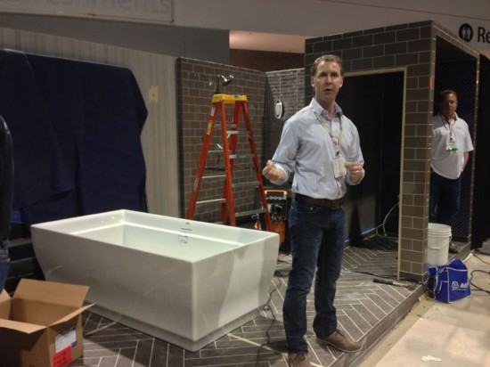 Mark Williams oversees the execution of his designs on Day 3 at Coverings in Atlanta. (Emily Hooper/AN)