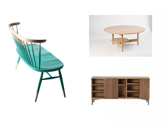 Pieces from the Original Collection (left) and the Svelto Collection (right) by Ercol