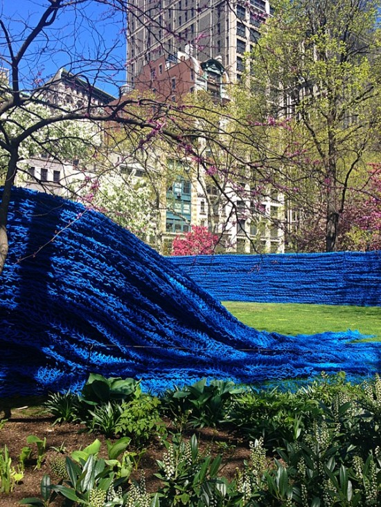Installation view of Orly Genger's Red, Yellow and Blue in Madison Square Park. (The Architect's Newspaper)