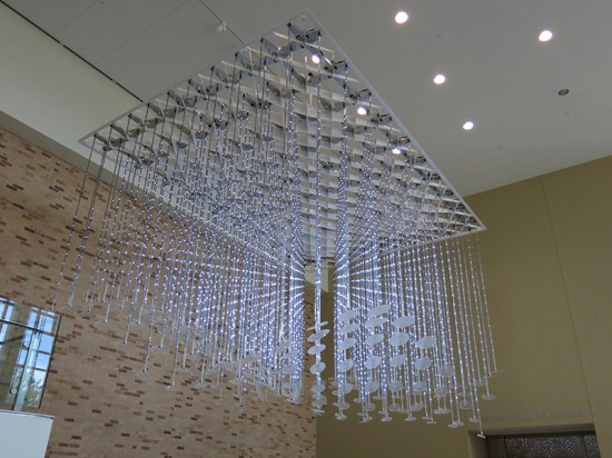 The acrylic disks at the bottom of each array act as luminaires, diffusing the light of the bottom-most LEDs. (Courtesy Metalab)