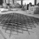 The 1/8-inch carbon steel diagrid frame. (Courtesy Metalab)