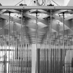 Acrylic tubes hanging through the diagrid. (Courtesy Metalab)