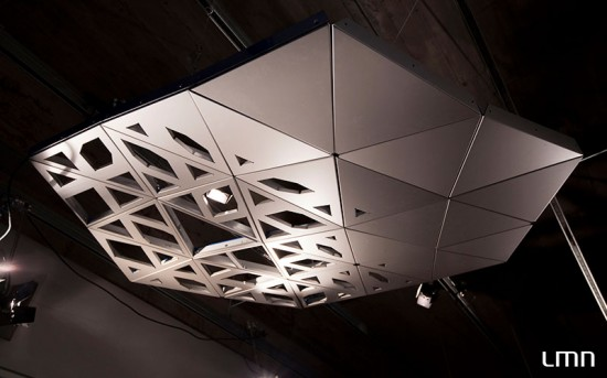 The smaller model includes both porous and reflective panels. (courtesy LMN Architects)