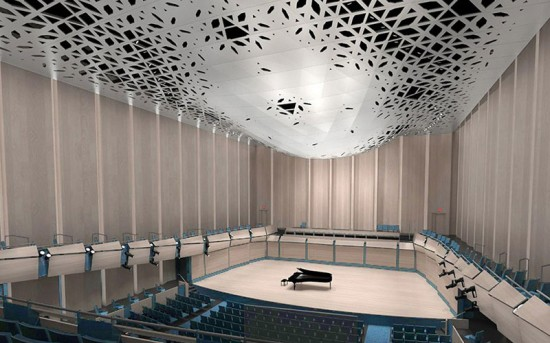 Porosity of each of the panels varies to facilitate optimal sound delivery. (courtesy LMN Architects)