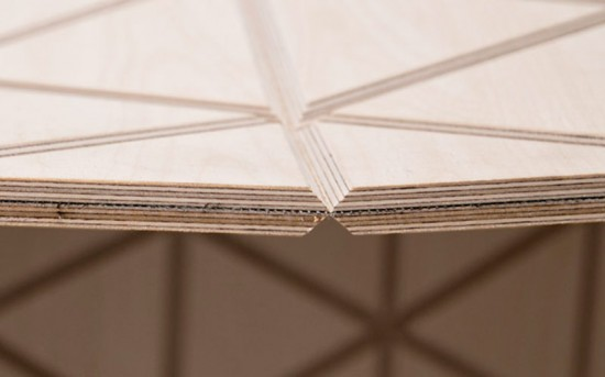 Russian plywood is adhered to a high-performance mesh with a custom adhesive. (courtesy Mama Fotogramma)