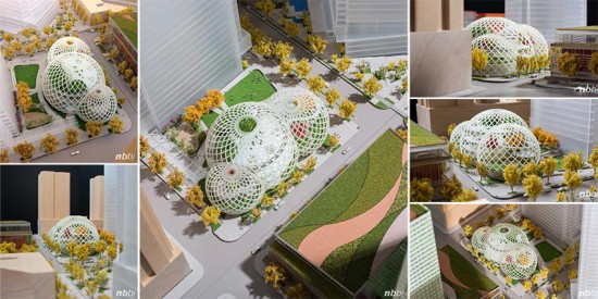 The proposed Amazon biodomes in downtown Seattle. (NBBJ / Seattle.gov)