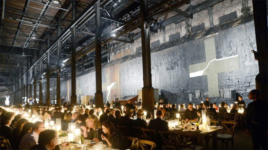 Dining inside Brooklyn's Domino Sugar Factory at the 2013 Creative Time benefit. (Courtesy Creative Time)