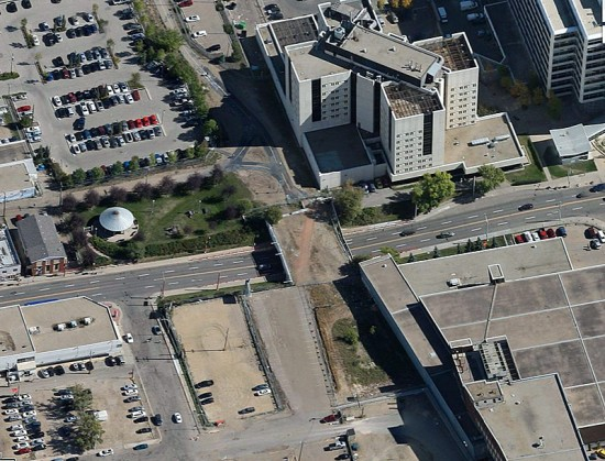 Aerial view of the bridge over 97th Street in Edmonton. (Courtesy Google Maps)