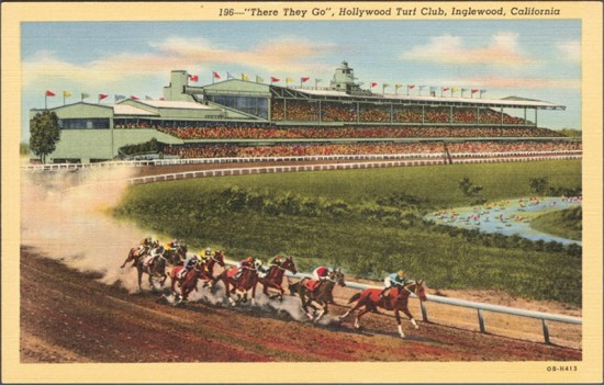A vintage postcard view of Hollywood Park. (Metro Transportation Library and Archive / Flickr)
