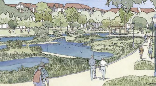 Rendering of the redeveloped Hollywood Park. (Courtesy Hollywood Park Tomorrow)