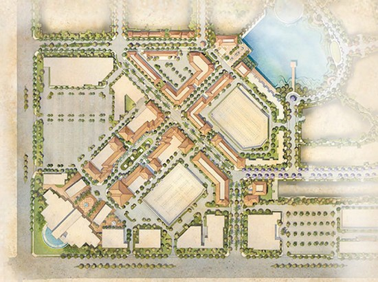 Site Plan detail of commercial center. (Courtesy Hollywood Park Tomorrow)