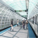 Renderings of the proposed CTA 'El' station at McCormick Place-Cermak St. (Courtesy Ross Barney Architects)