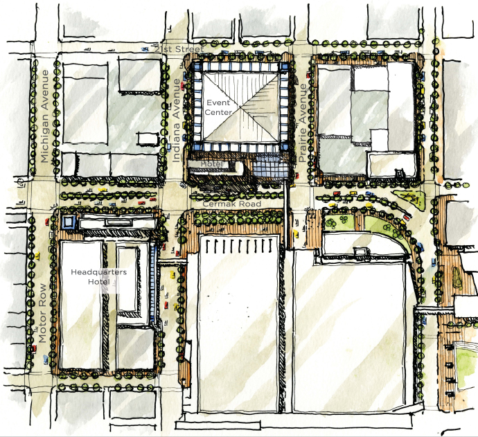A sketch of some proposed developments for the area around McCormick Place. (Courtesy McCormick Place Complex and Navy Pier / TVS Design)
