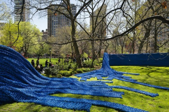 Installation view of Orly Genger's Red, Yellow and Blue in Madison Square Park. (James Ewing / Courtesy Madison Square Park Conservancy)